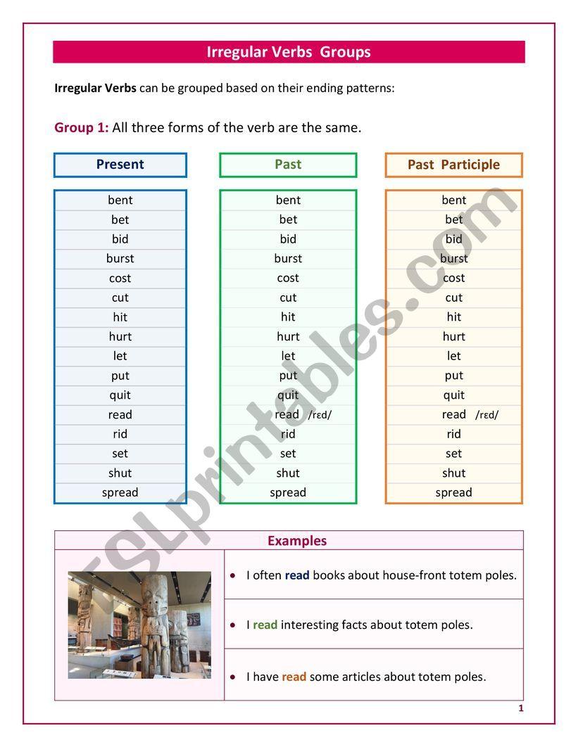 Irregular Verbs Groups worksheet
