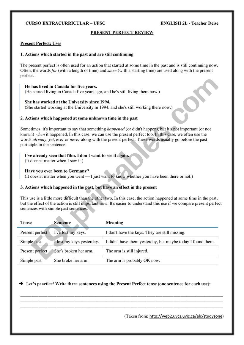 PRESENT PERFECT REVIEW worksheet