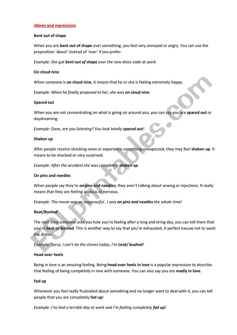 Idioms and expressions worksheet