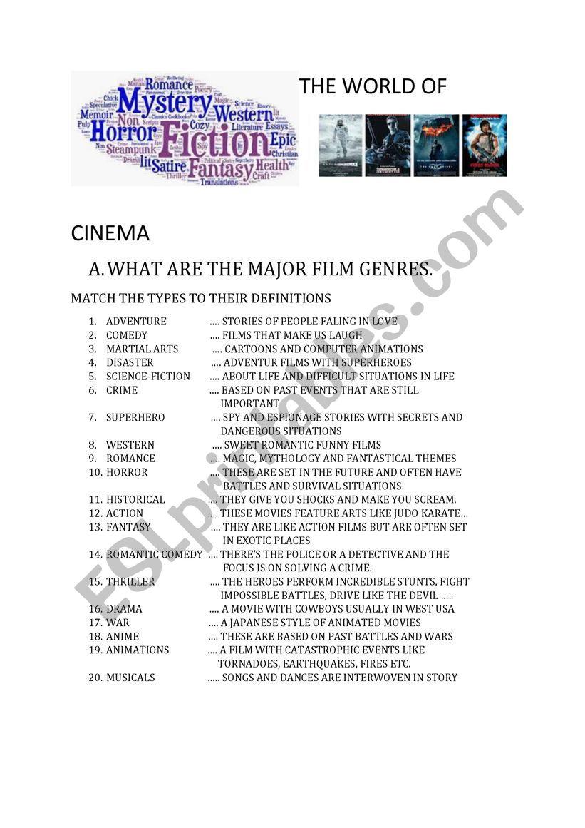 THE WORLD OF CINEMA PART-1 worksheet