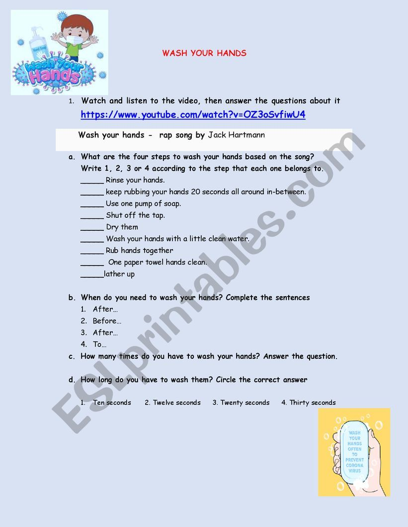 WASH YOUR HANDS worksheet