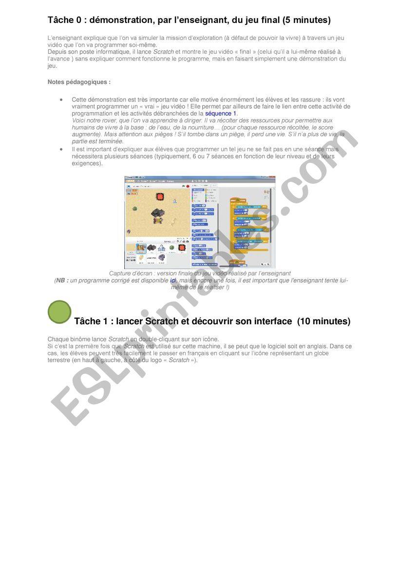 Programmation avec scratch worksheet