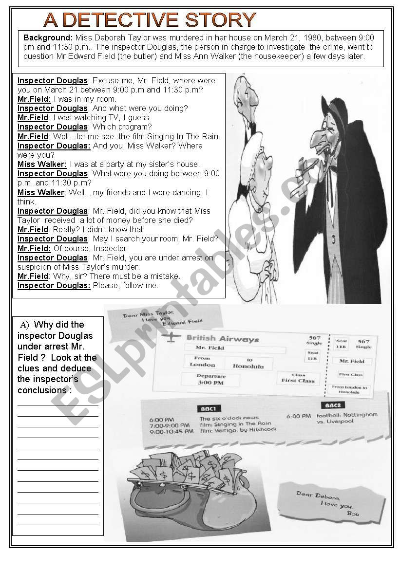 DETECTIVE STORY - 1/3  SET worksheet