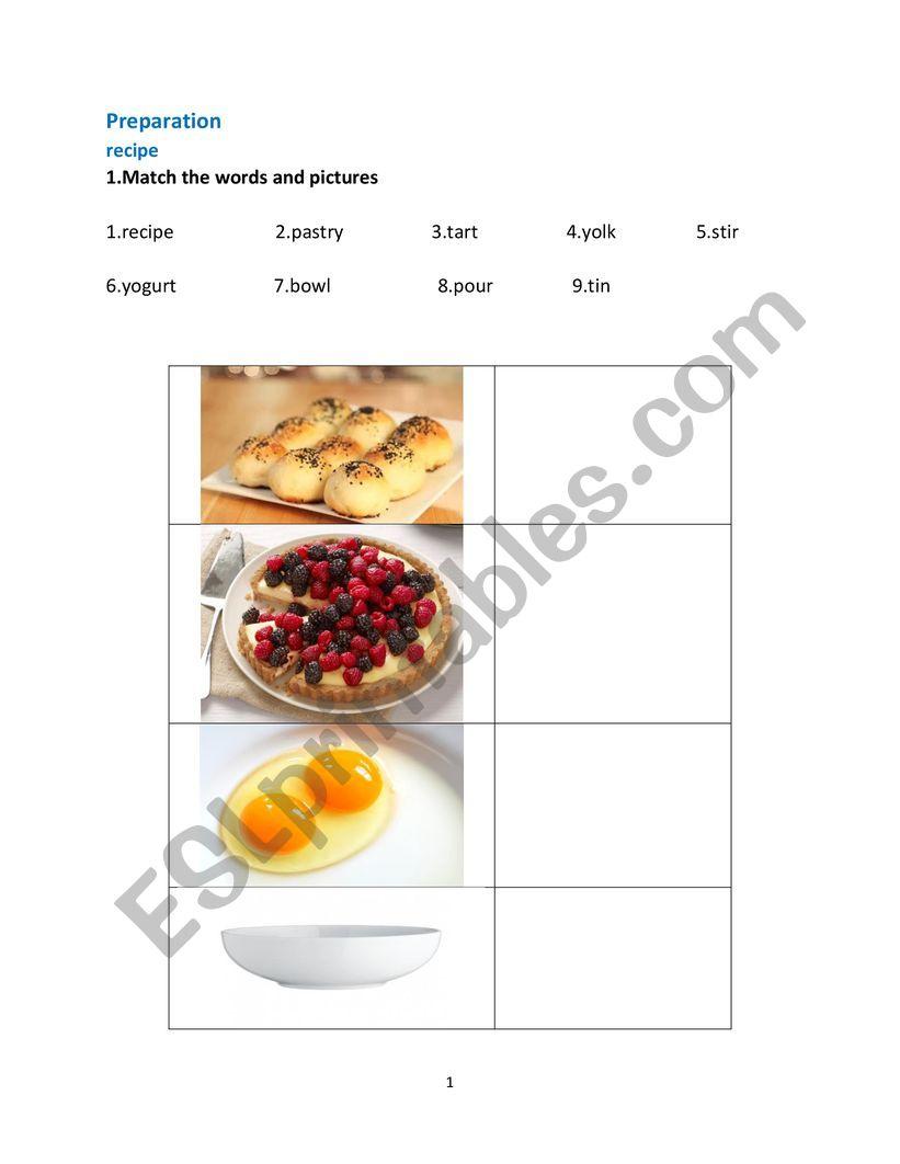 recipe vocabulary worksheet