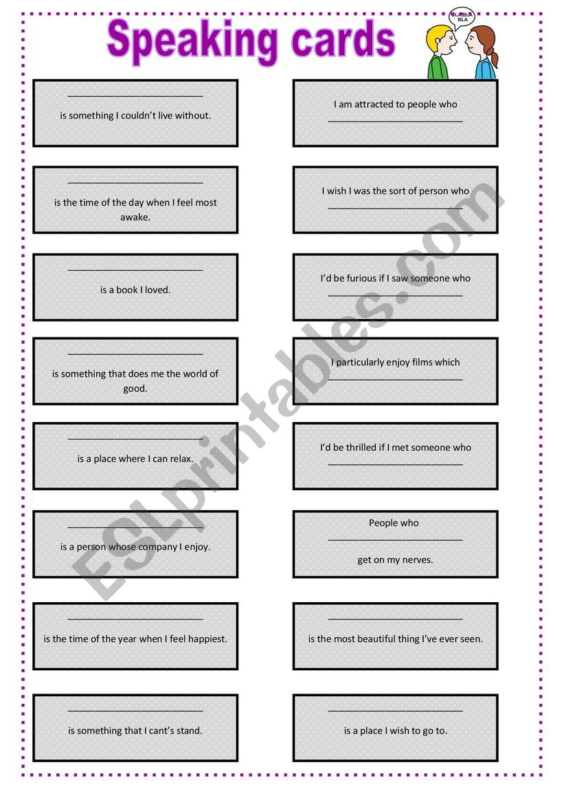 Speaking card worksheet