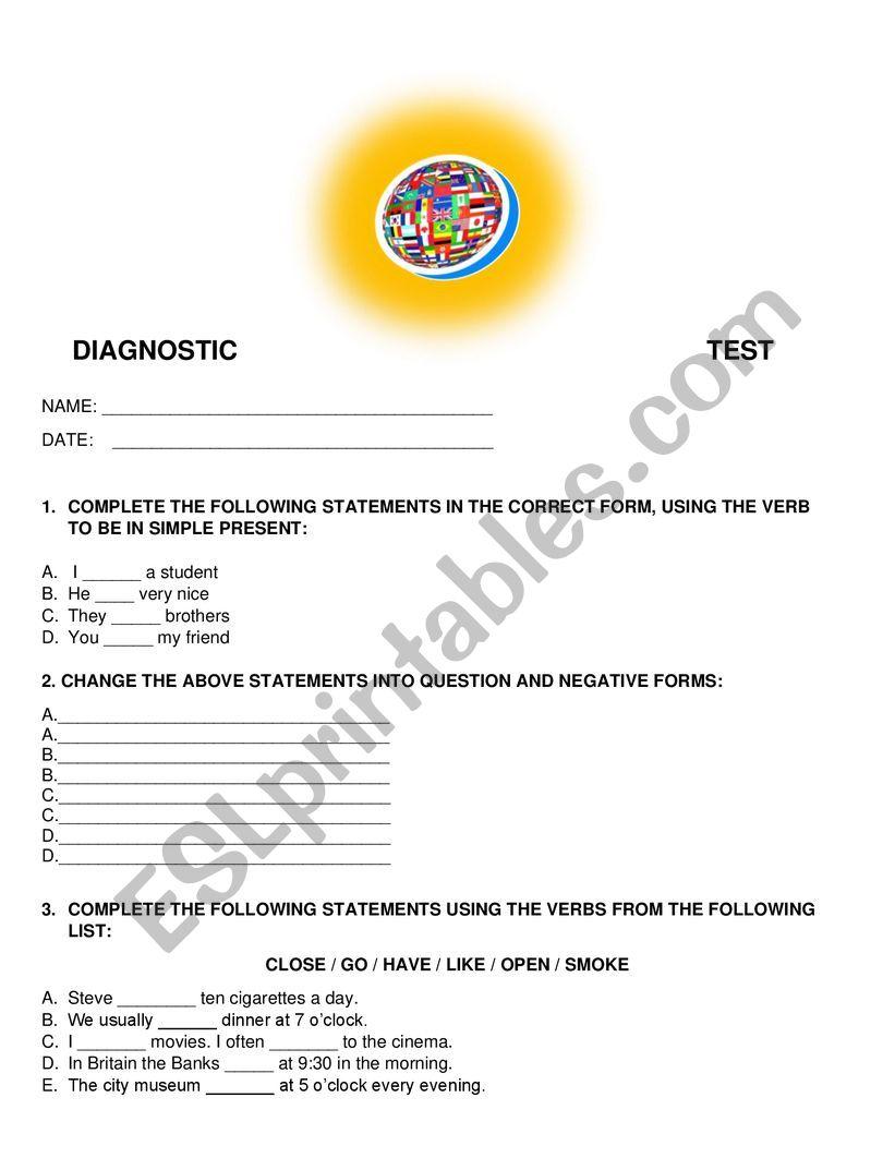 DIAGNOSTIC TEST worksheet
