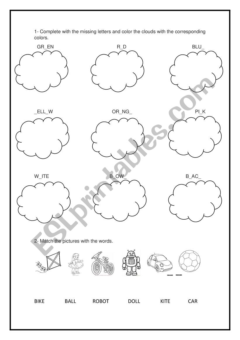 Review colors and toys worksheet