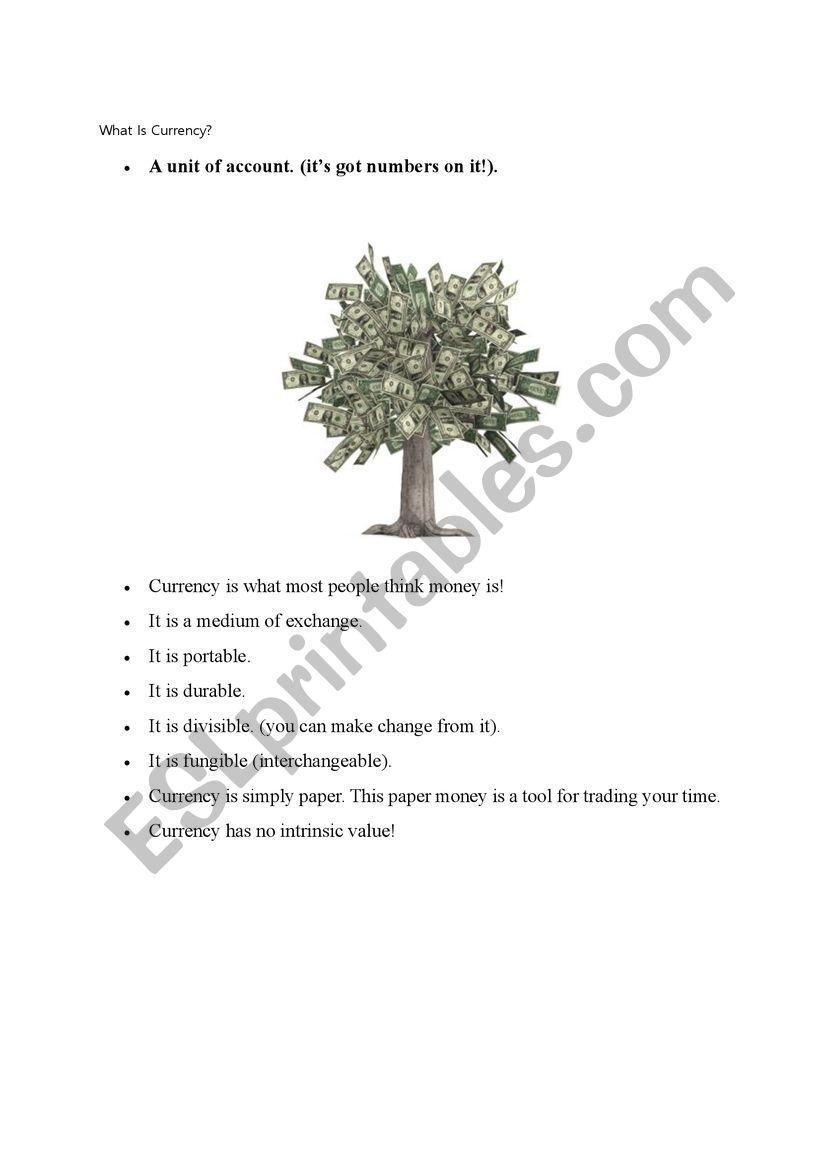 currency worksheet