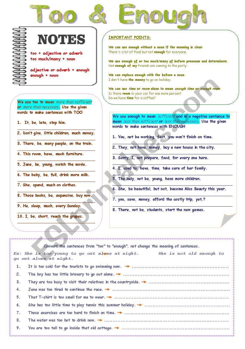 Too & Enough worksheet