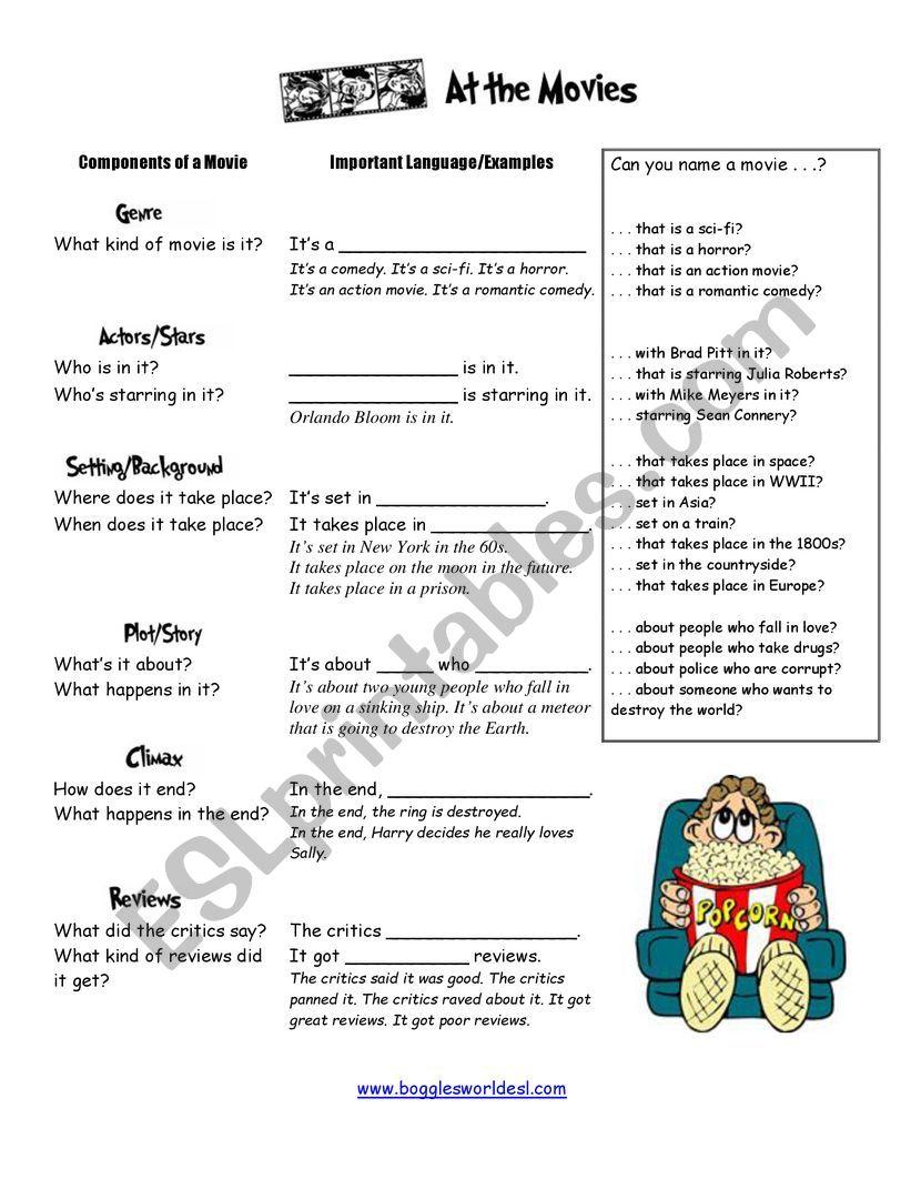 Movie language worksheet
