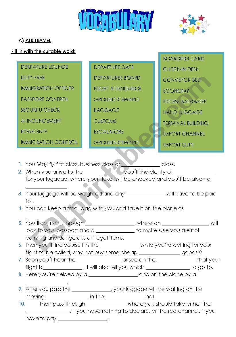 Tourism Vocabulary worksheet