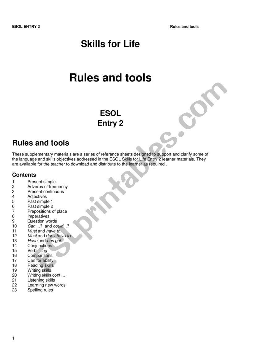 ESOL E2 RULES  worksheet
