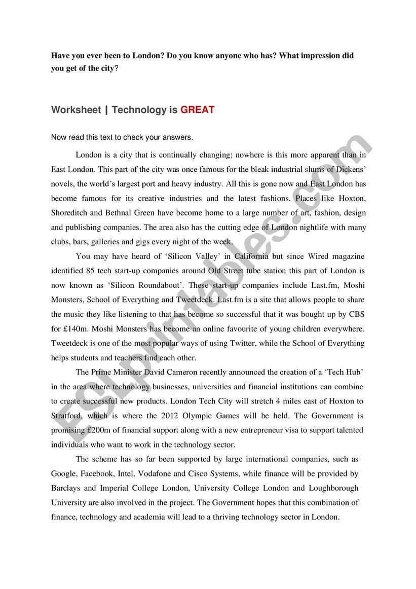 technical english worksheet
