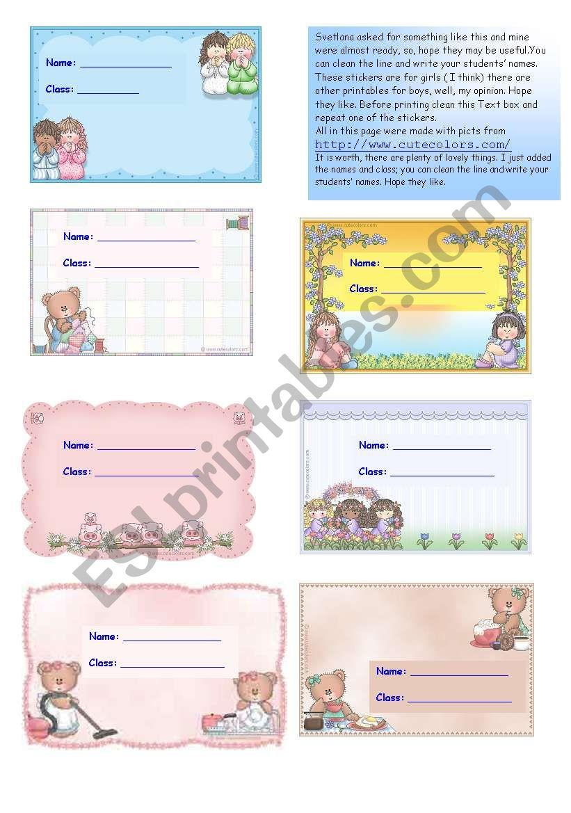 Svetlana´s stickers Part1 /2 worksheet