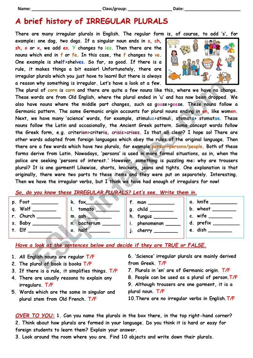 RC: a brief history of irregular plurals - ESL worksheet by cunliffe