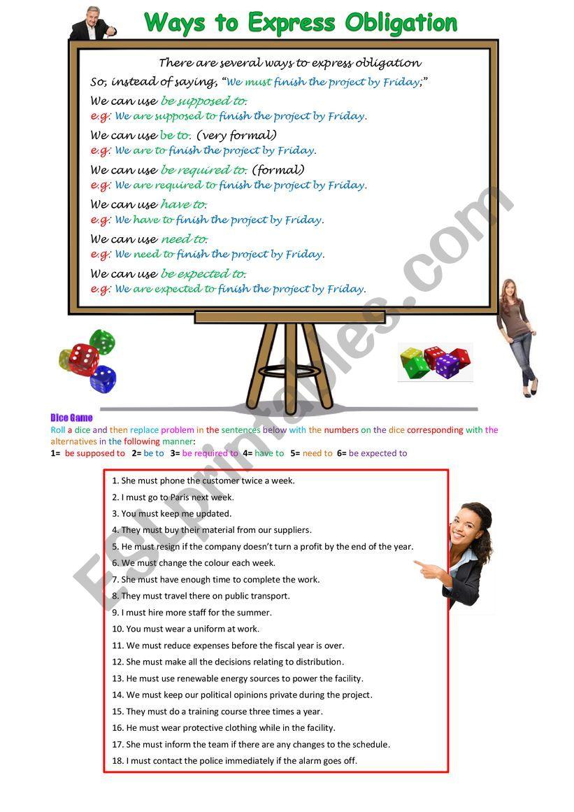 Ways to Express Obligation worksheet