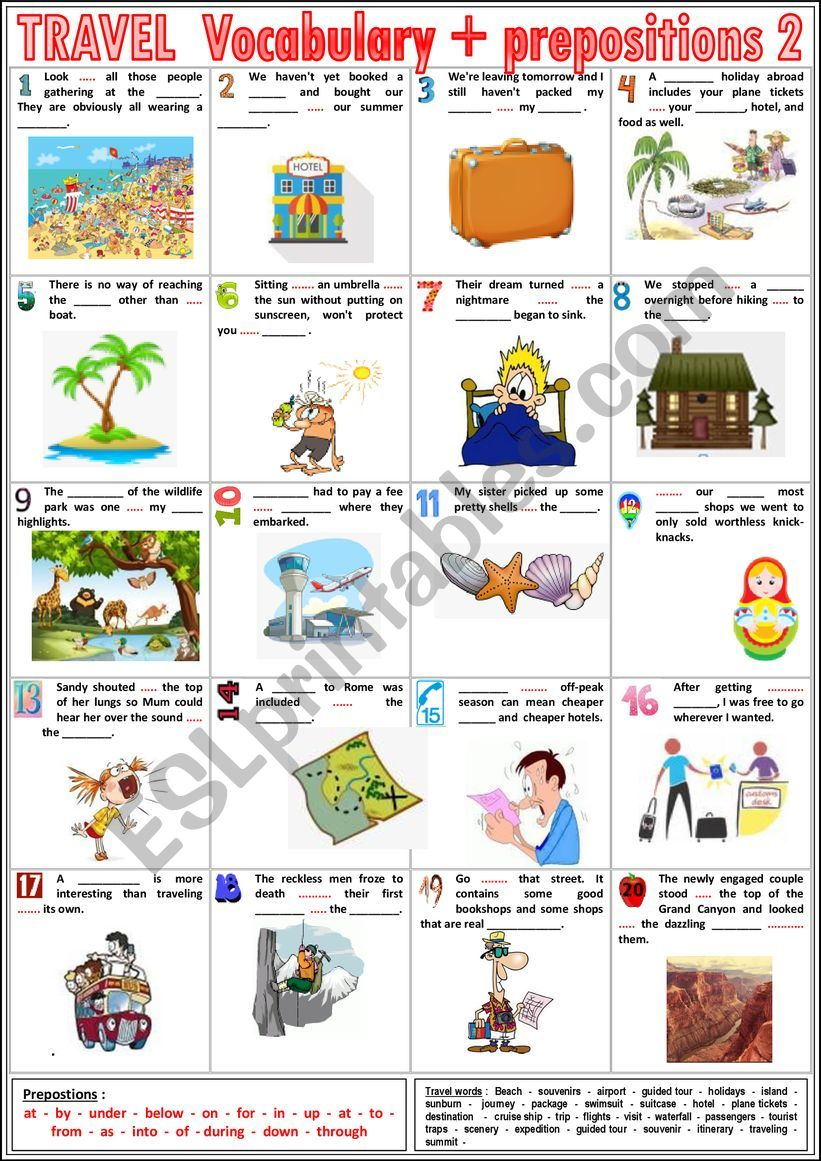 TRAVEL Vocabulary TEST  2 - Vocabulary + prepositions + KEY