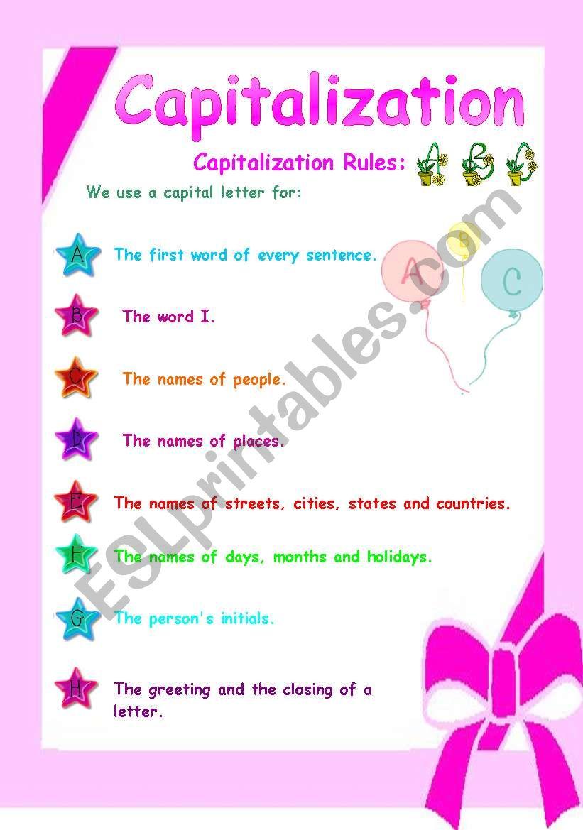 Capitalization esl worksheet by anatoren capitalization worksheet m4hsunfo
