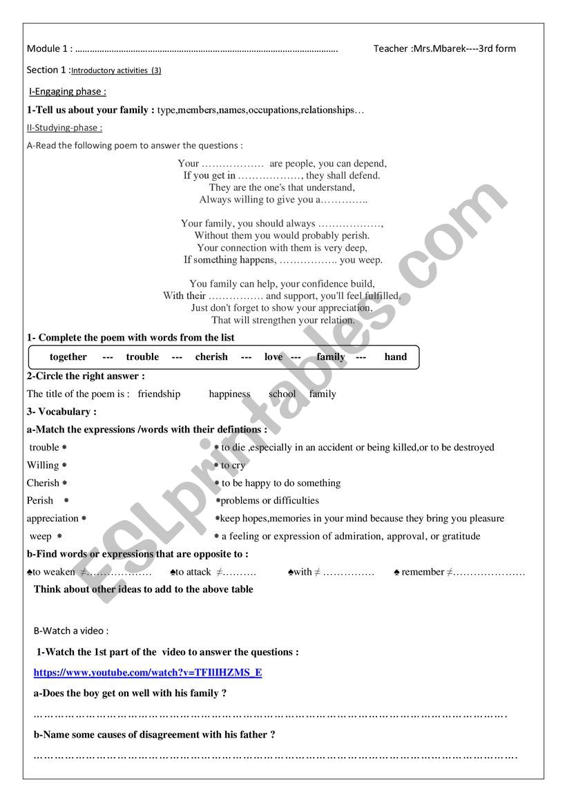 module 1 section 1 introductory activities (part 3) 3rd form