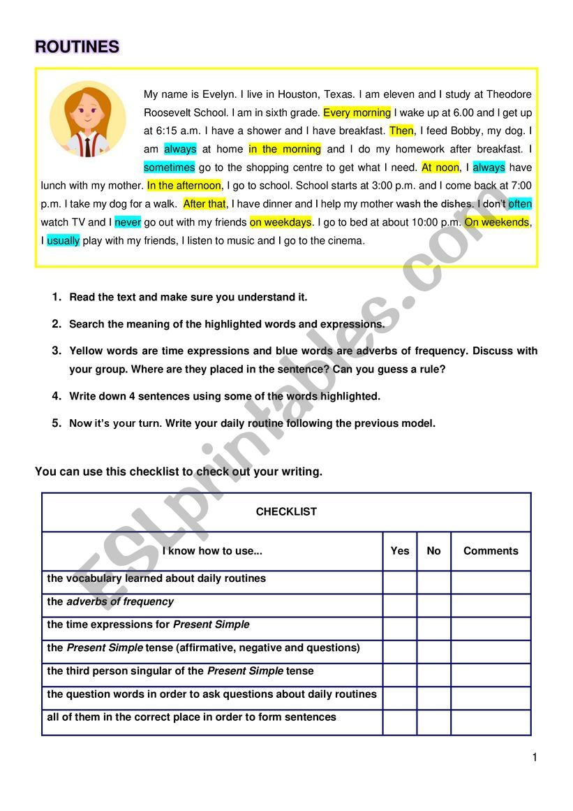 Daily routines, kwl chart, checklist and chart to ask school mates� routines