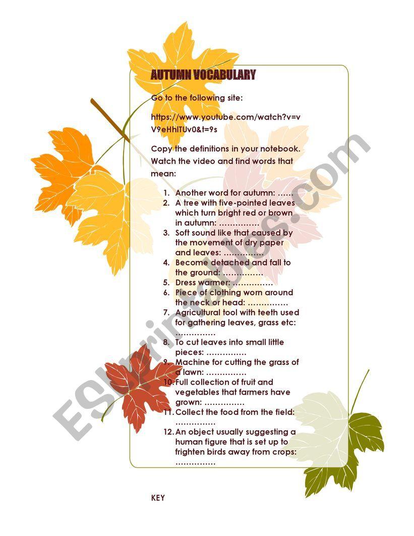 Autumn vocabulary worksheet