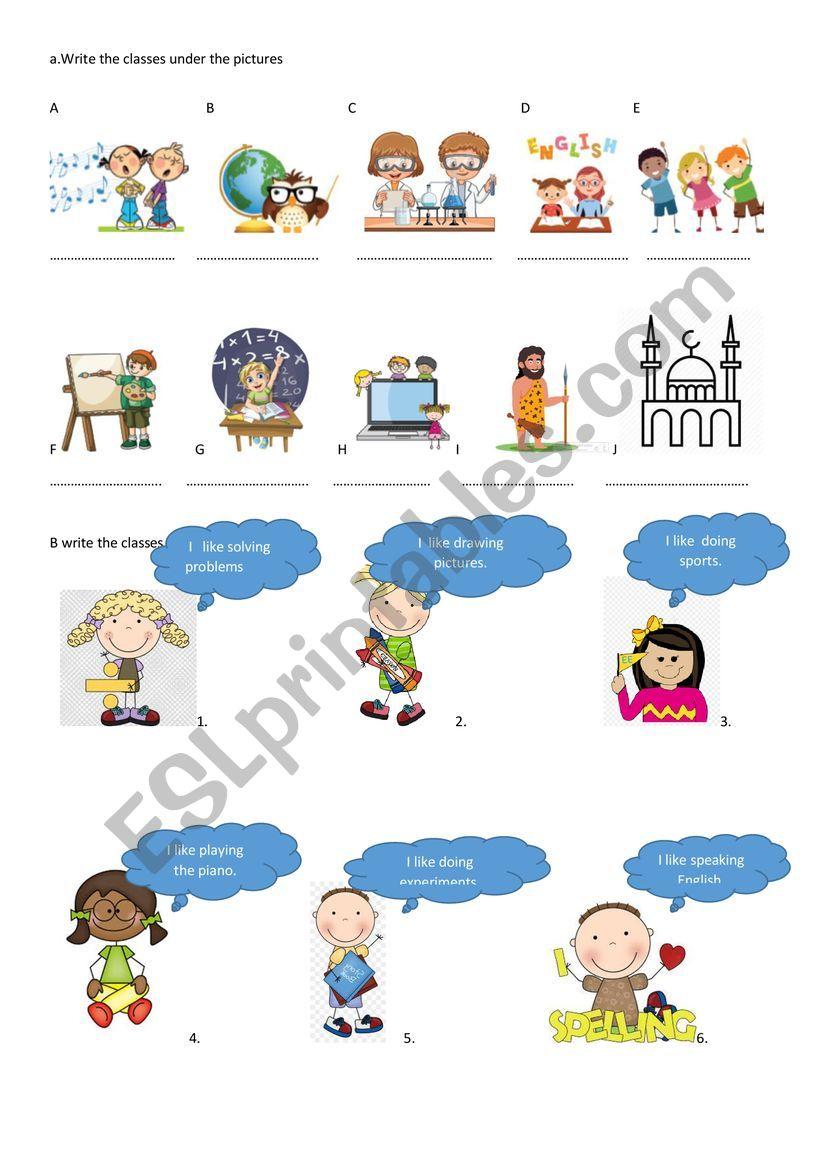 school subjects worksheet