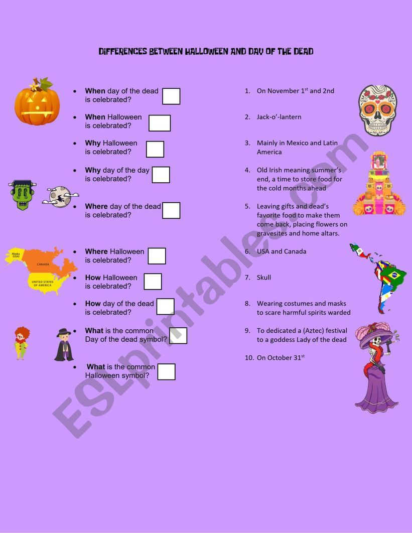 DIFFERENCES HALLOWEEN VS DAY OF THE DEAD