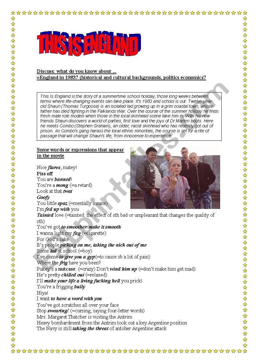 Movie: This is England worksheet