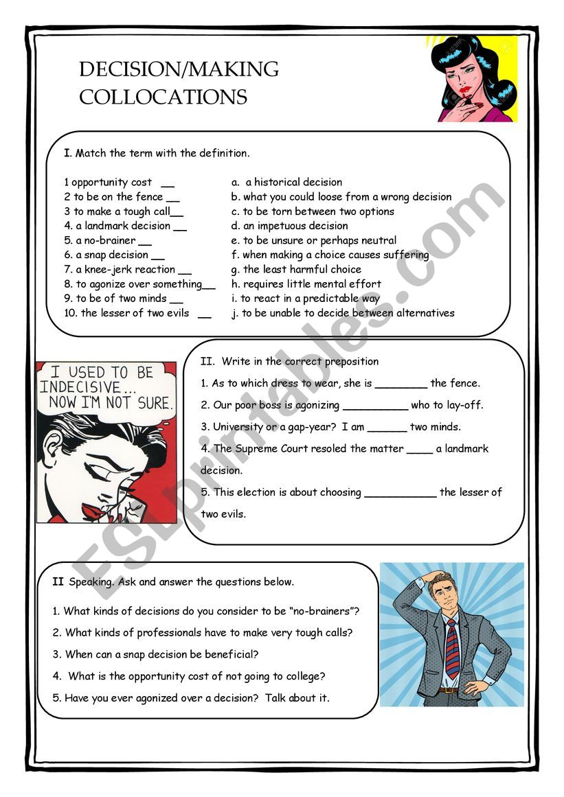 Decision Making Collocations worksheet