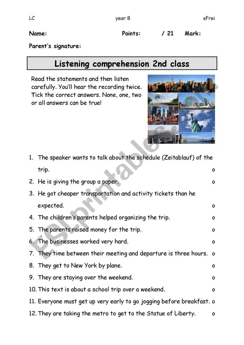 Listening Comprehension Test worksheet