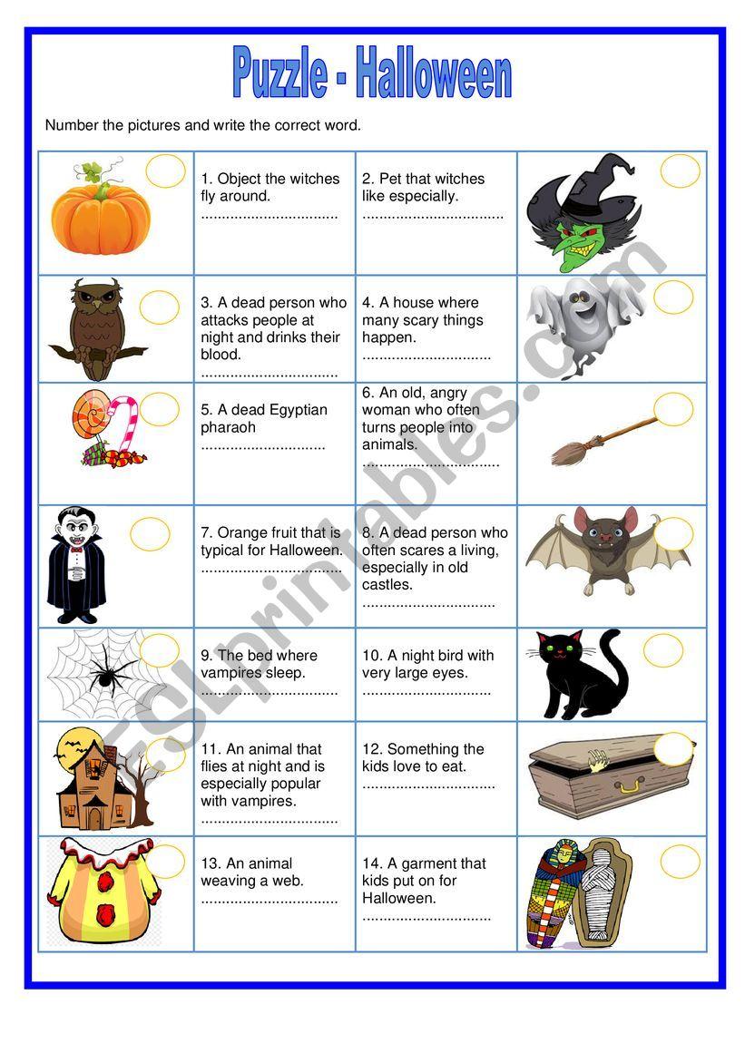 Puzzle - Halloween worksheet