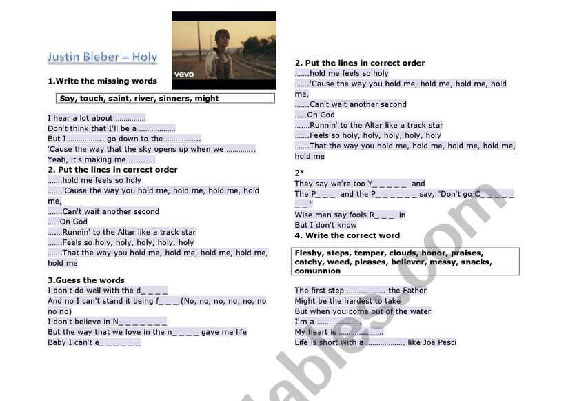 Justin Bieber- Holy worksheet