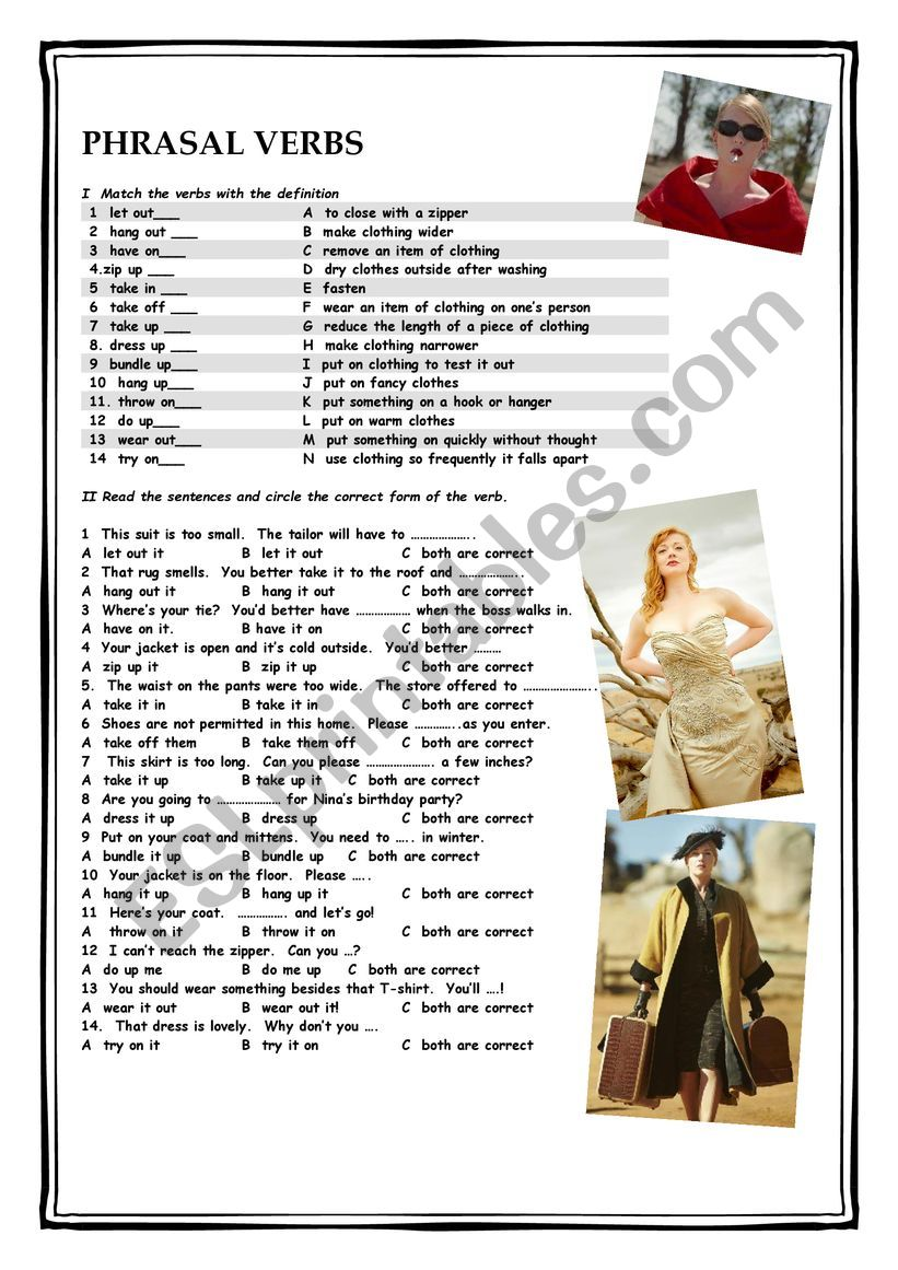 Clothes & Phrasal Verbs worksheet