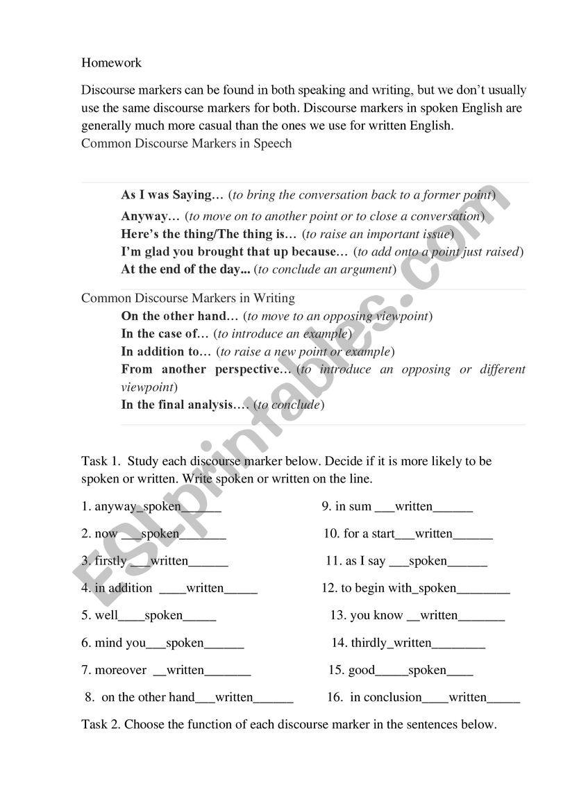 Discourse worksheet