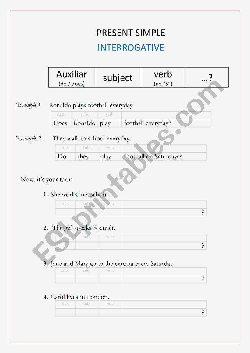 Present simple - Interrogative (remedial work)