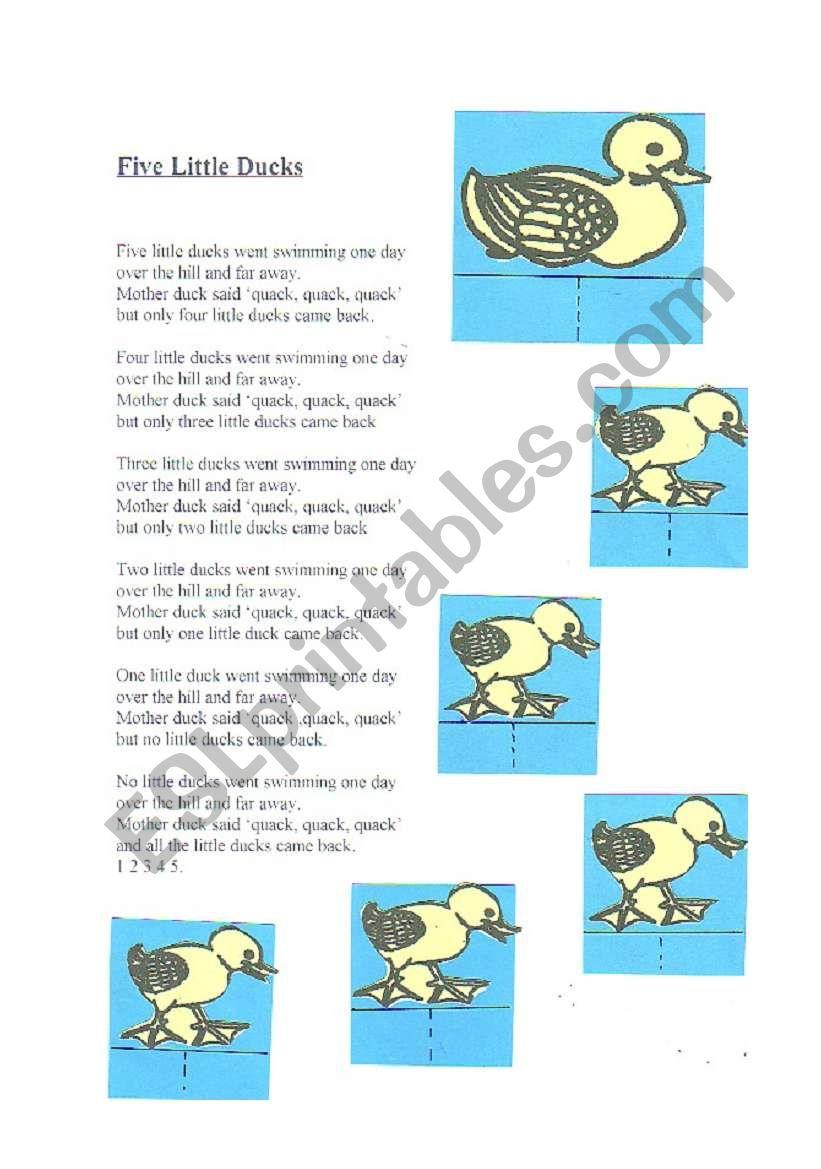 Five Little Ducks Activity Esl Worksheet By Yetigumboots