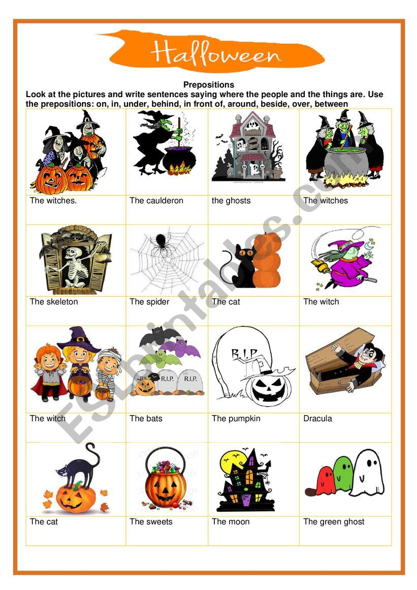 Halloween - prepositions worksheet