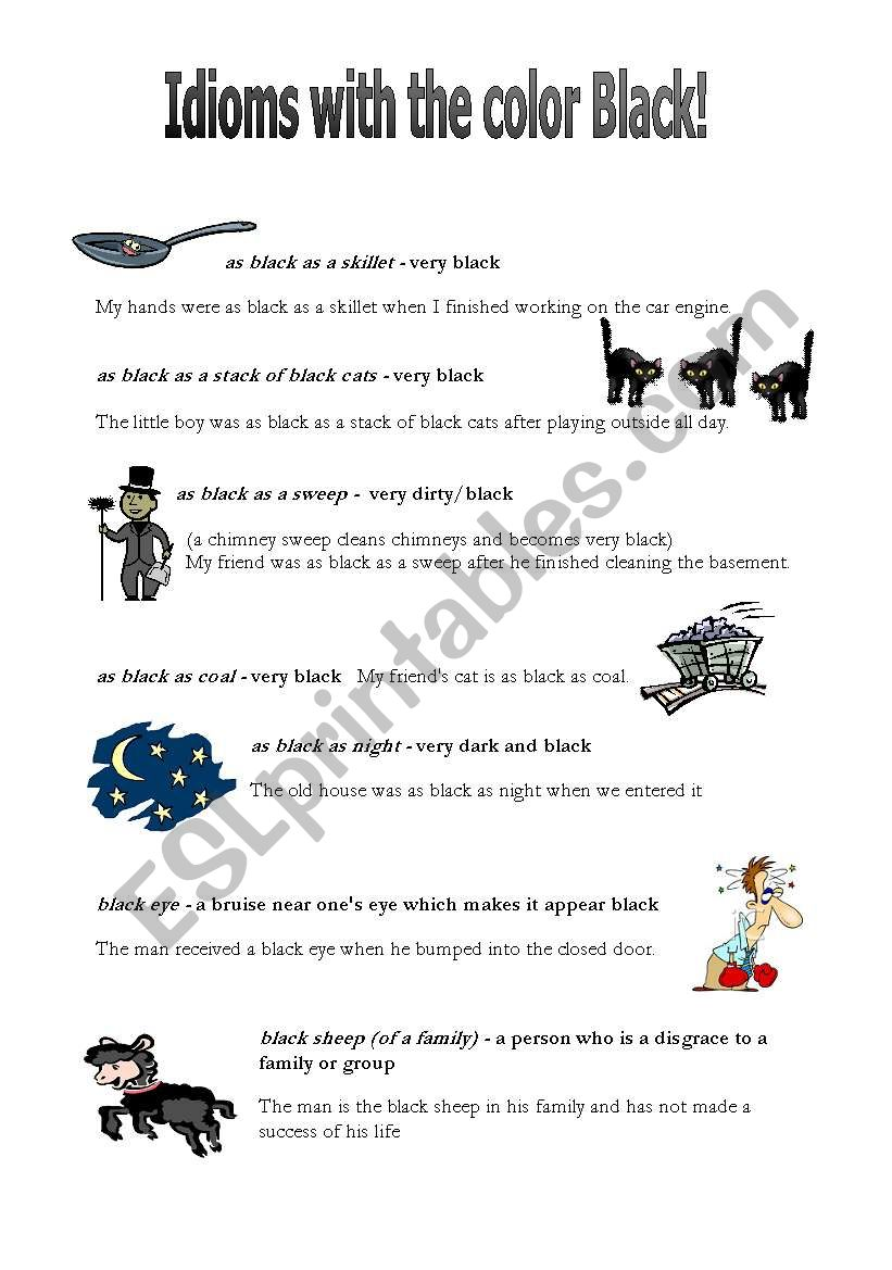 Idioms with the color black worksheet