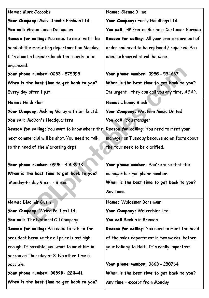 On The Phone - Fun ID-Cards worksheet