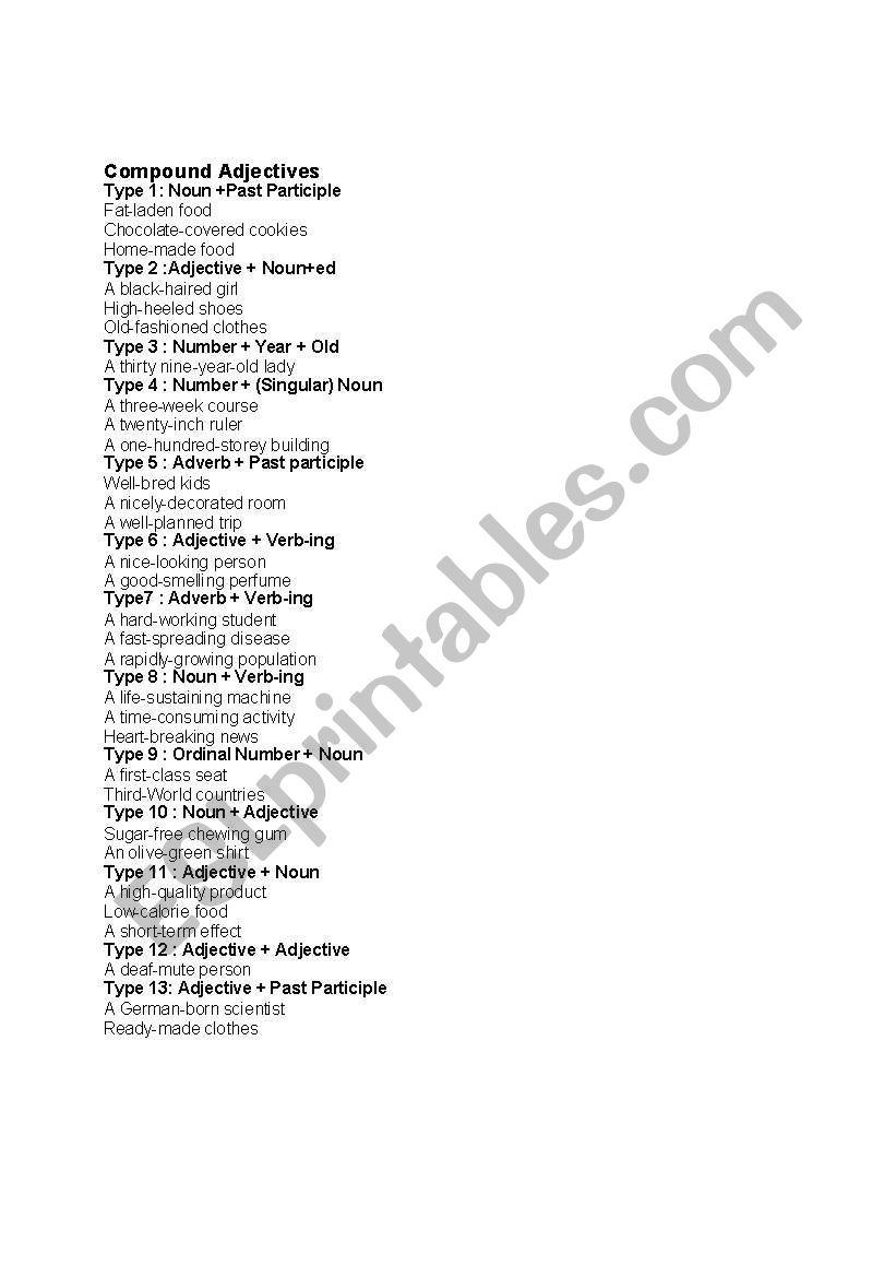 compounds adjectives worksheet