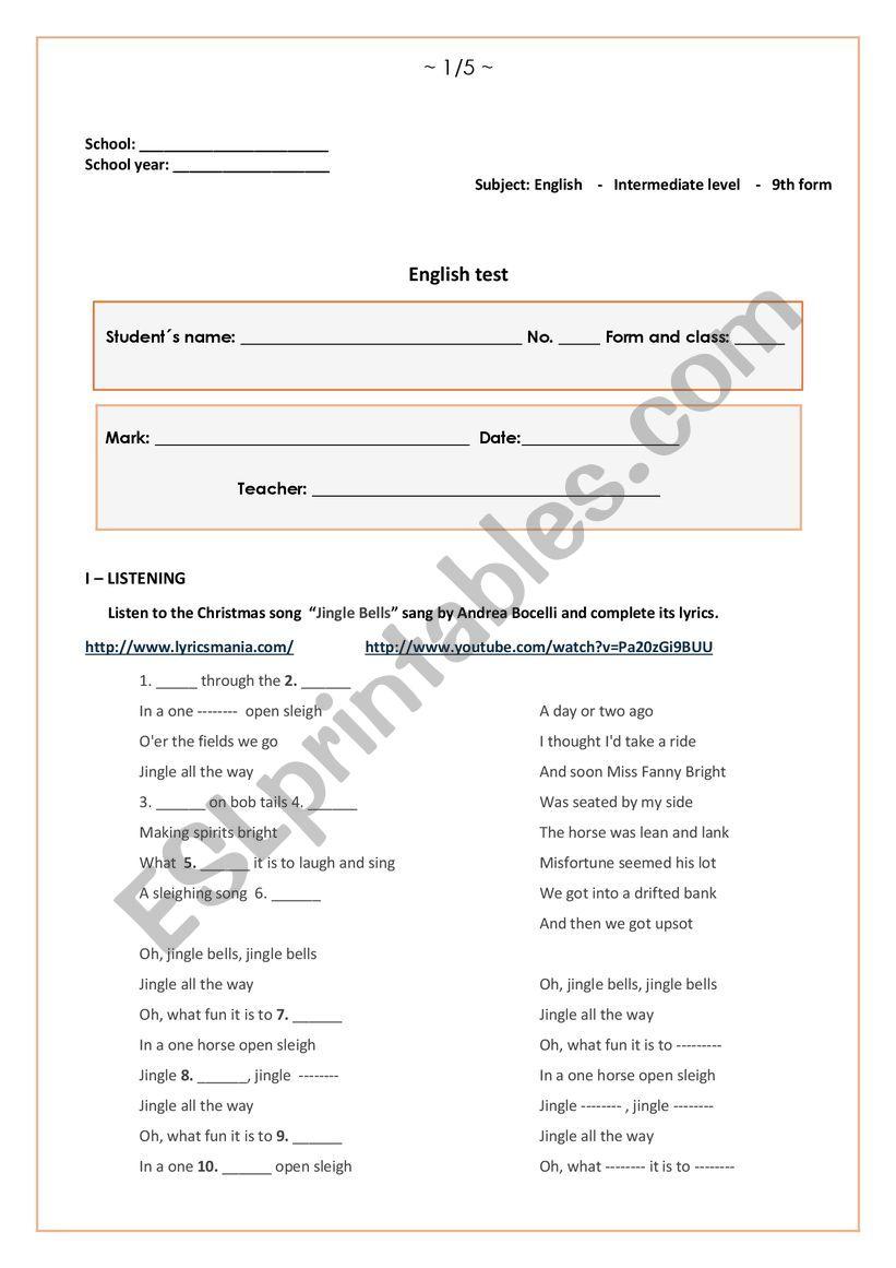 9 th form English test worksheet
