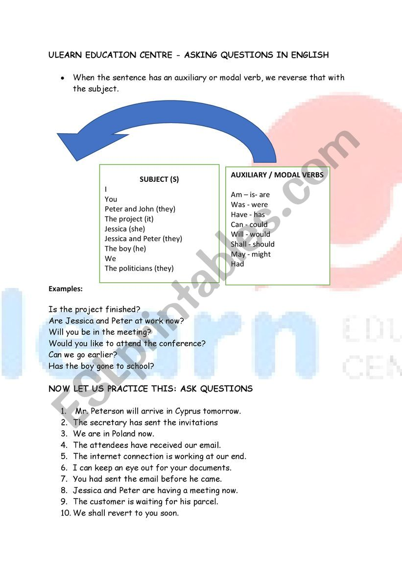 Asking Questions in English!  worksheet