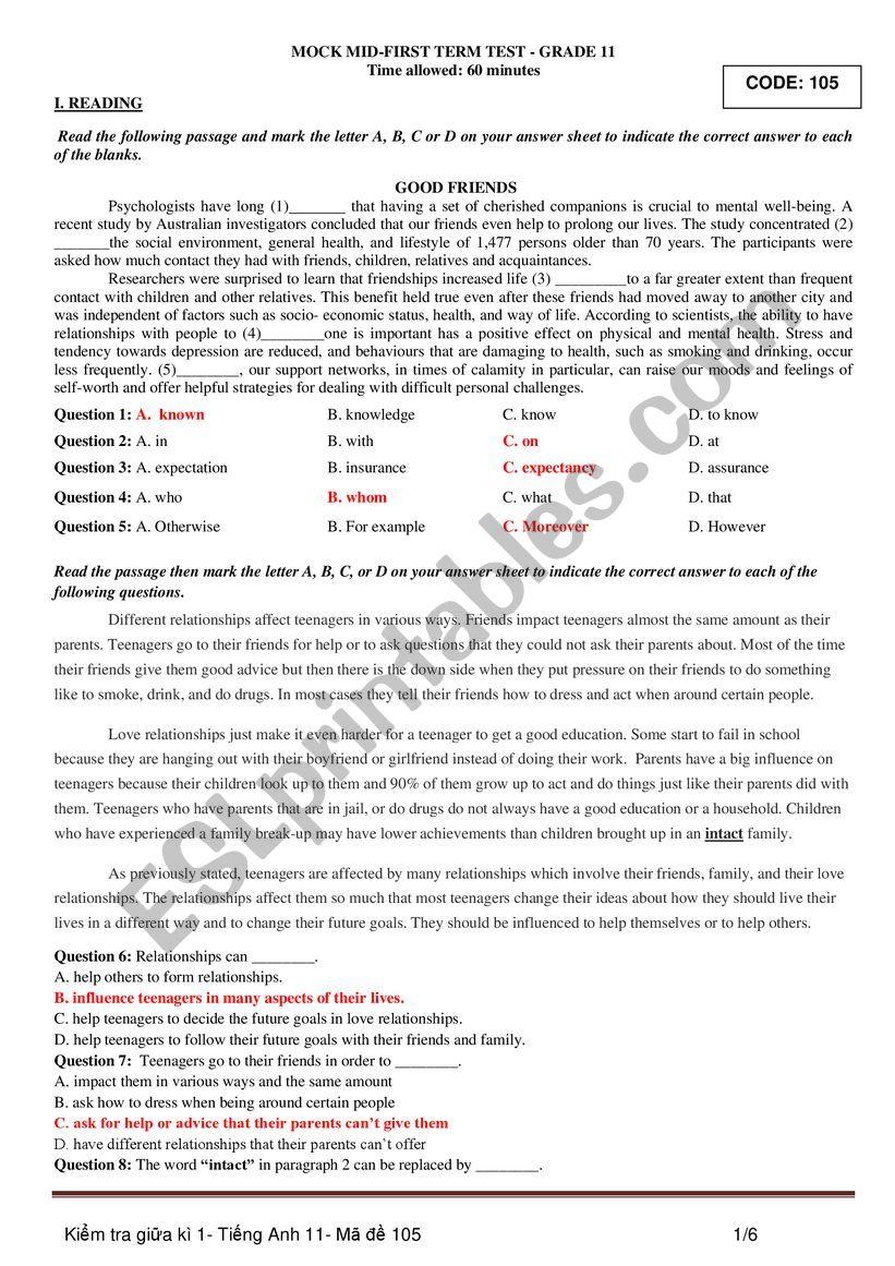 English 10 Vietnam worksheet