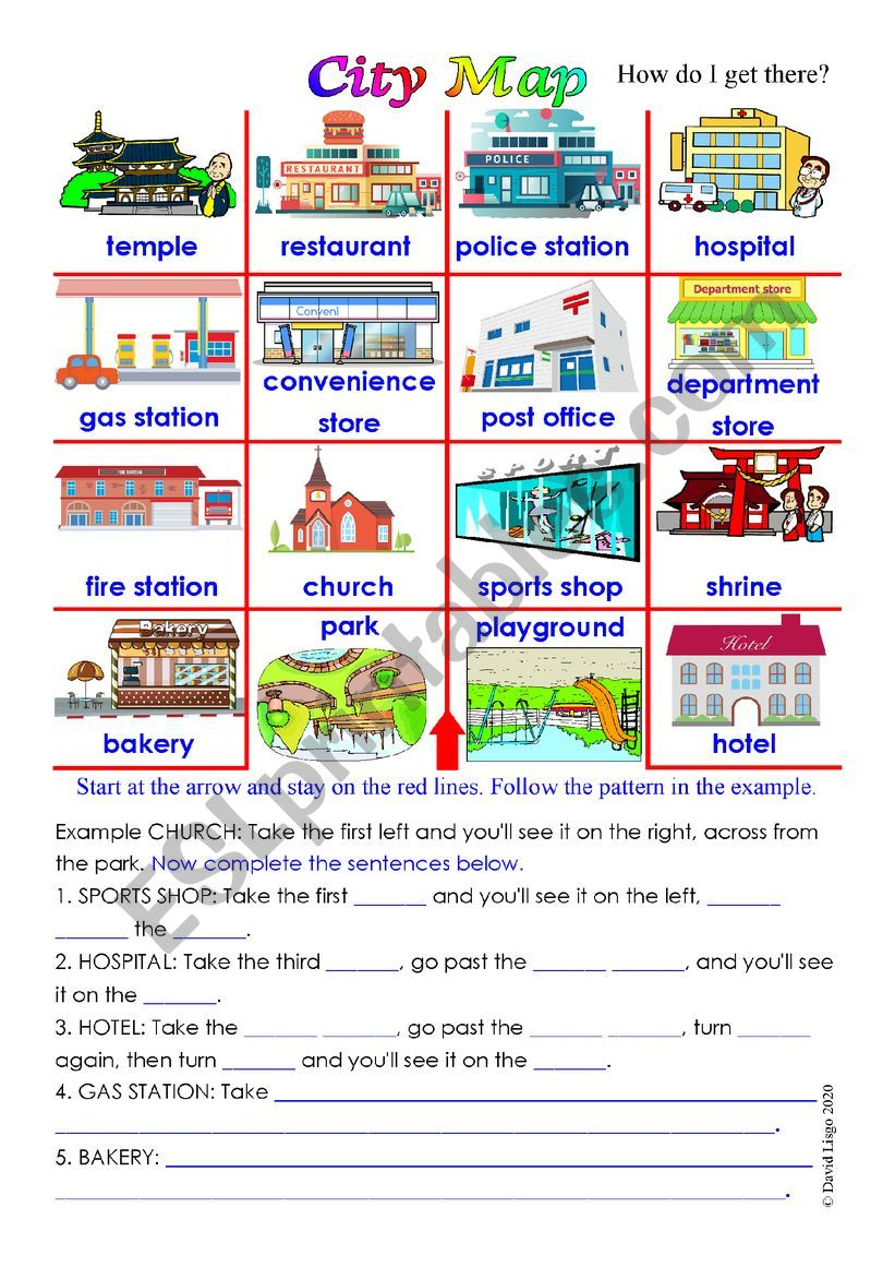 City Map With Sentence Completion Activity And Answer Key