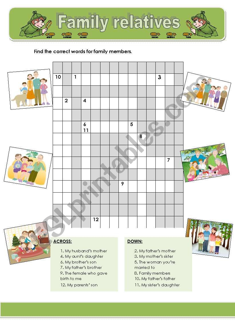 Family relatives crosswords worksheet