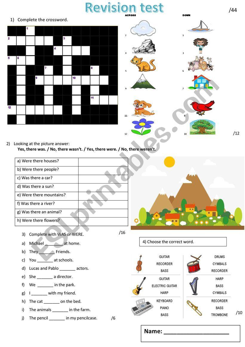 Revision test worksheet