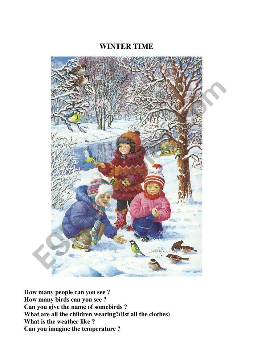 Winter time worksheet