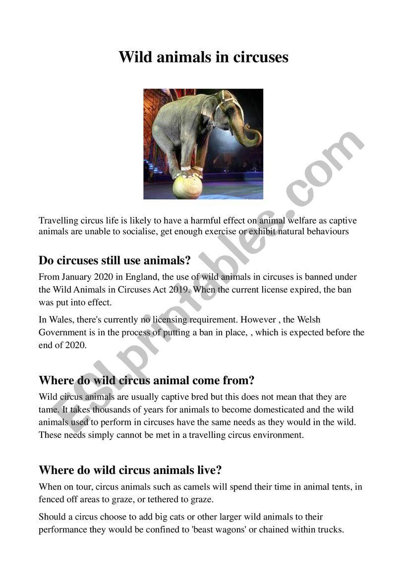 Wild animals in circuses worksheet