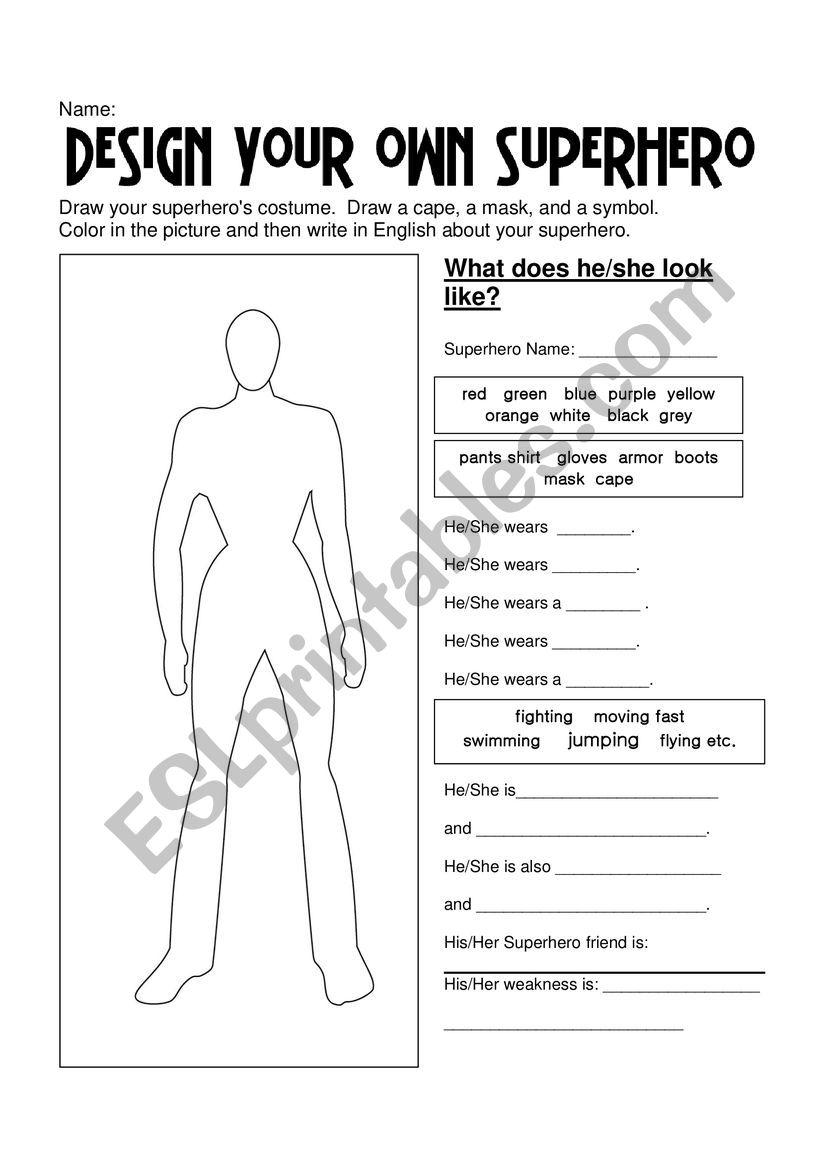 Superhero worksheet