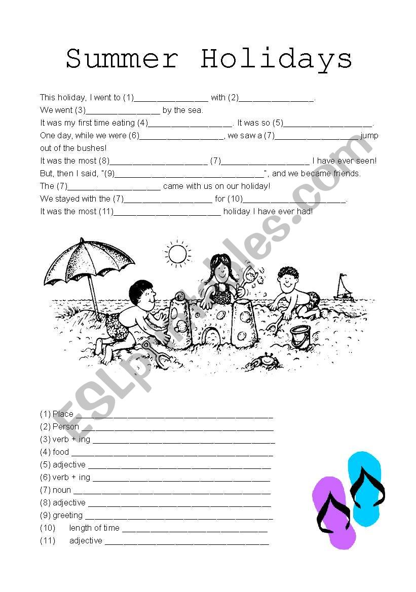 photo relating to Summer Mad Libs Printable called Summer months Vacations Madlibs - ESL worksheet by means of jaxsta